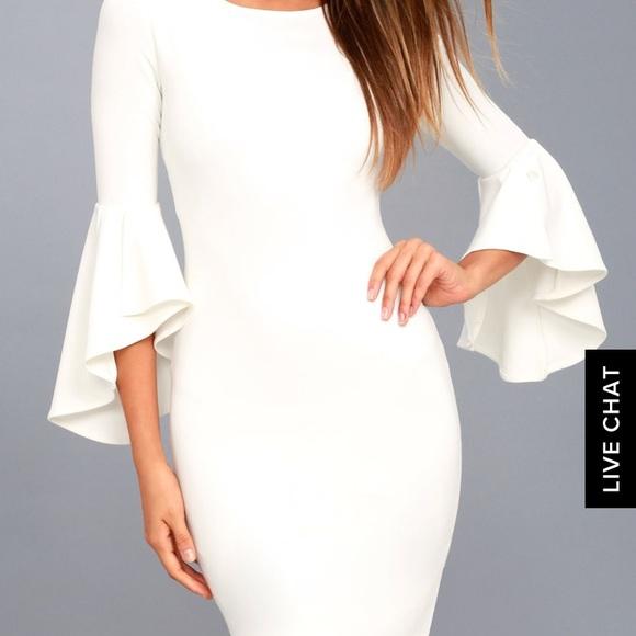 27e99ade9e Lulu s Dresses   Skirts - GIMME SOME FLAIR WHITE FLOUNCE SLEEVE DRESS